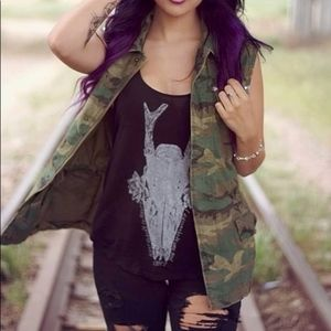 Urban Outfitters Ecote Camo Vest Military Green XS